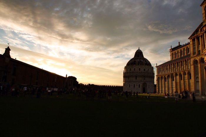 Pisa Italy Baptistery Cathedral Piazza Dei Miracoli Cathedral Of Pisa Sunset Dusk Silhouettes Religion Outdoors People Golden Hour Clouds Travel Photography Sunset Twilight Twilight Sky
