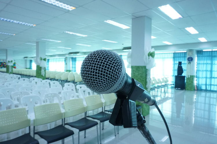 Close-up of microphone in event