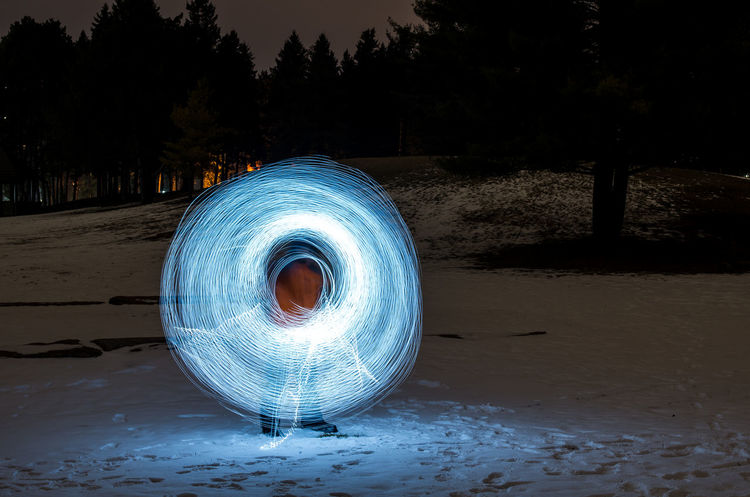 Snow ball effect Creative Light And Shadow Creative Shots Landscape Light Art Light Effects Light Show Long Exposure Nightphotography Outdoors Reflection Snow Ball Snow ❄ Wintertime Night Lights