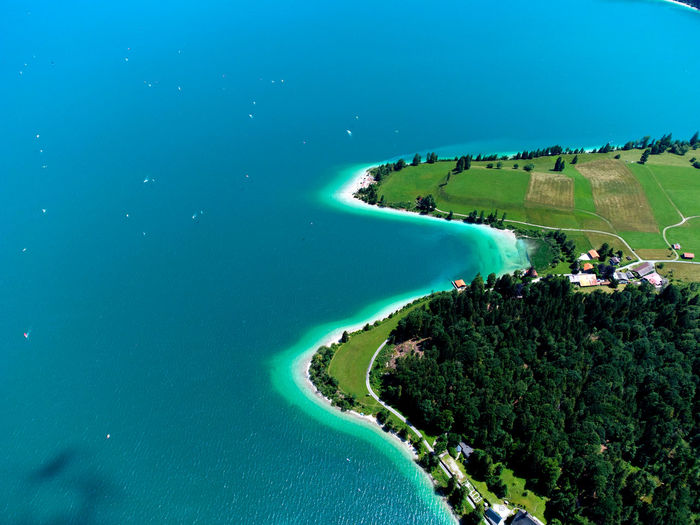 Walchensee with its beautiful caribbean water from above