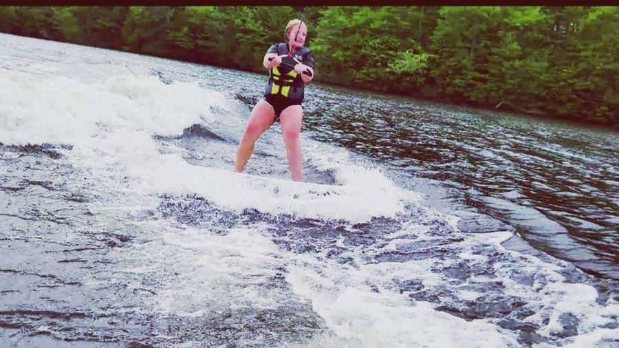 There's a first time for everything 😝 Wakesurfing That's Me Check This Out Enjoying Life SacoRiver Maine Surfme