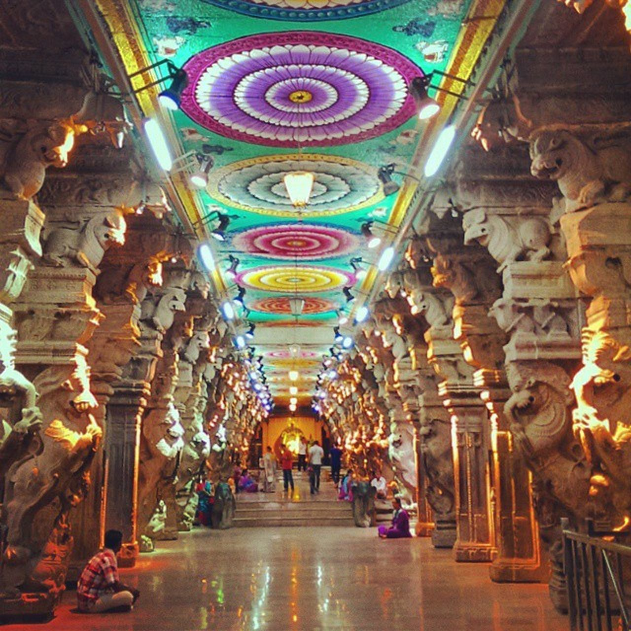 architecture, illuminated, indoors, built structure, ornate, architectural column, travel destinations, the way forward, multi colored, religion, low angle view, spirituality, place of worship, day, no people