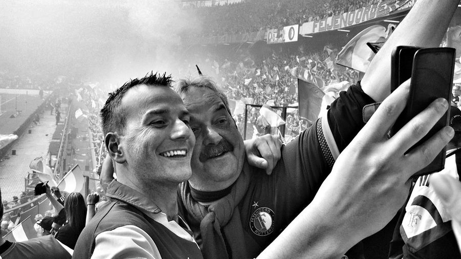 Happy Feyenoord Fans Feyher Championship Match Black And White Monochrome (c) 2017 Shangita Bose All Rights Reserved The Street Photographer - 2017 EyeEm Awards Feyenoord The Photojournalist - 2017 EyeEm Awards Rotterdam