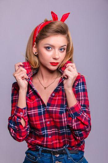 Portrait Young Women Person Studio Shot Fashion