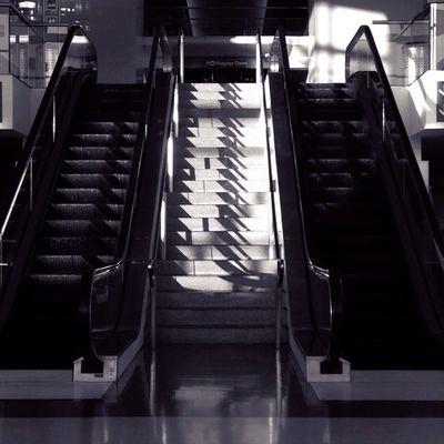 Escalator SFO Black And White Architecture