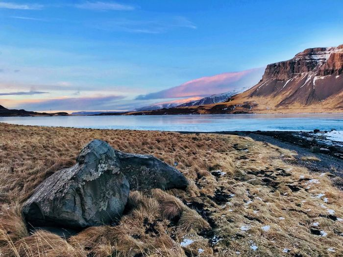 Iceland Coast Shoreline Shore Iceland Water Sky Tranquil Scene Scenics - Nature Tranquility Sea Beauty In Nature Rock Beach Mountain Land Nature Non-urban Scene Cloud - Sky No People Outdoors