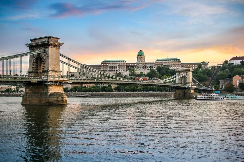 Danube river in Budapest, Hungary Architecture Built Structure Building Exterior River Travel Destinations Water City Travel Bridge - Man Made Structure Sky Transportation Waterfront Chain Bridge Connection Outdoors No People Cultures Suspension Bridge