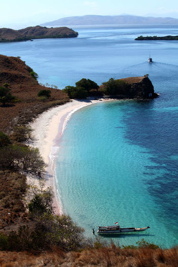 High angle view of beach and sea at komodo national park