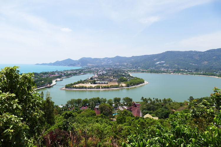 Water Plant Mountain Sky Nature Tree Cloud - Sky Beauty In Nature Building Exterior Outdoors Growth No People Scenics - Nature Bay Tranquility Built Structure Lake Island Viwe High Angle View Lanscape Tranquil Scene Day Green Color Coastline Overlooking Koh Samui Kskyoh Samui Morth Coast Viewpoint Landscape