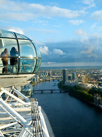 View from London Eye a famous landmark, UK