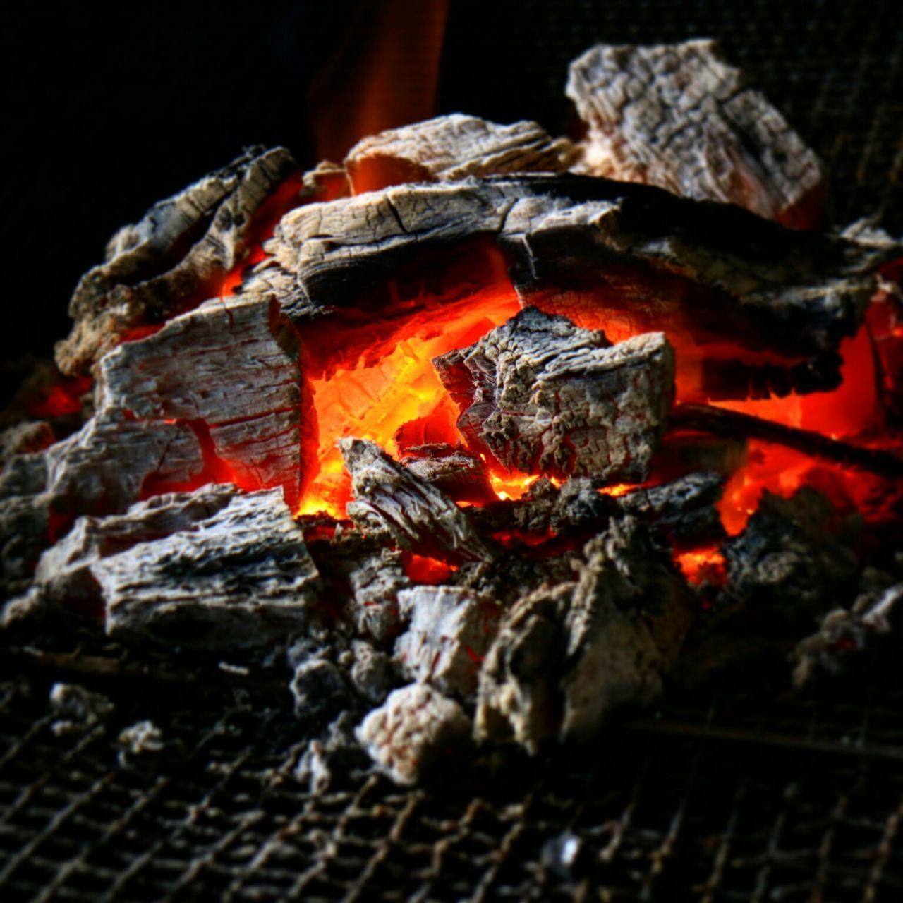 night, coal, outdoors, flame, burning, no people, close-up, wood - material, heat - temperature