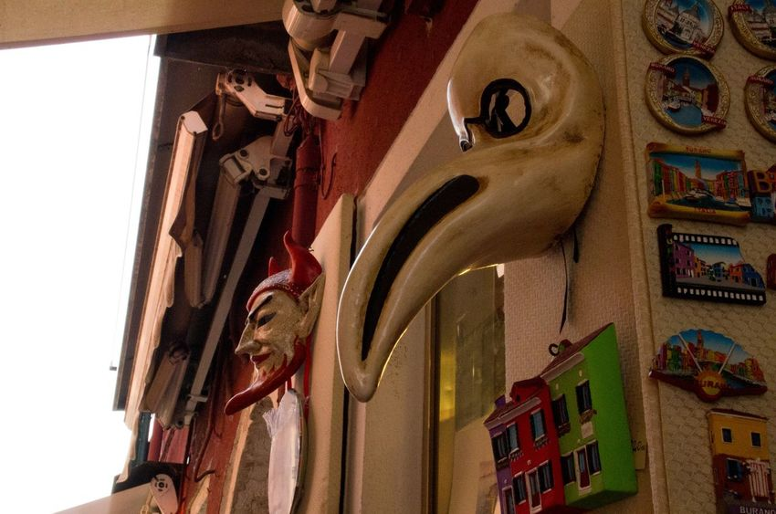 Architecture Built Structure Burano Carnival Crowds And Details Day Human Representation Italy Low Angle View Mask No People Plague Doctor Travel Venice Venice, Italy