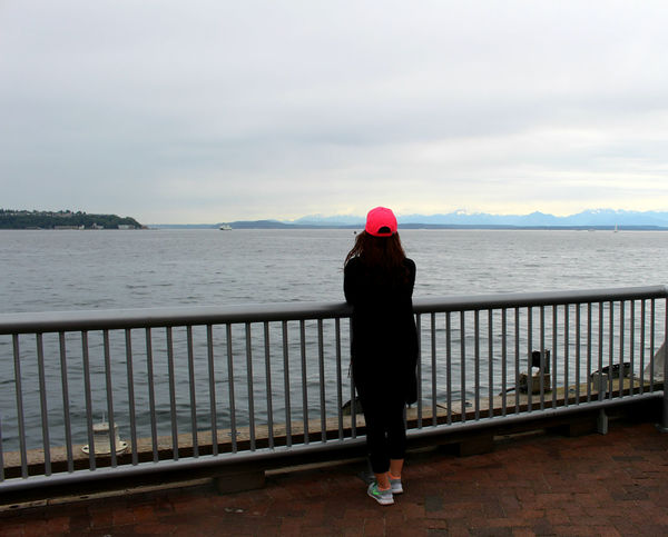 Bright Hat Overlooking The Sea Pacific Northwest  Pacific Ocean Pop Of Color Seattle Snowy Mountains Views Water
