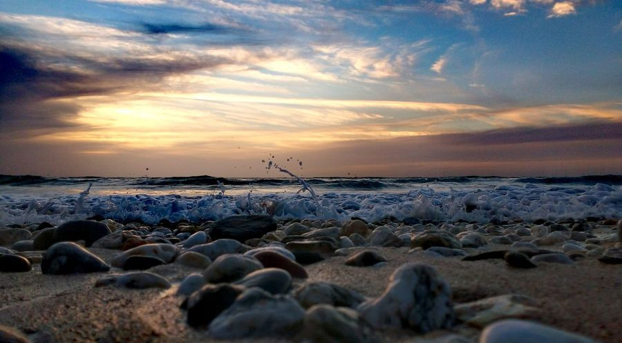 Pebble beach Sunset Cloud - Sky Sea Beauty In Nature Outdoors No People Pebble Pebble Beach Vacations Scenics Beach Evening Light Seascape Photography Sunsetporn Cornwalluk Atlantic Coast Waterscape Landscape Tide Coming In The Great Outdoors - 2017 EyeEm Awards