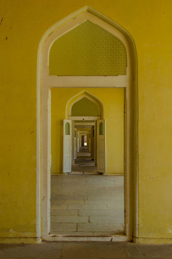 Nazam Museum Arch Architecture Building Built Structure Day Diminishing Perspective Empty Entrance No People The Architect - 20I6 EyeEm Awards The Way Forward Yellow First Eyeem Photo