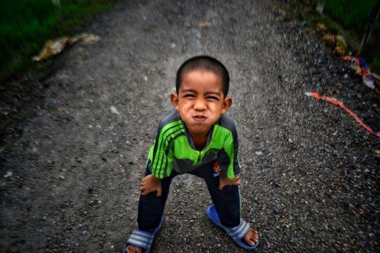 High angle portrait of boy