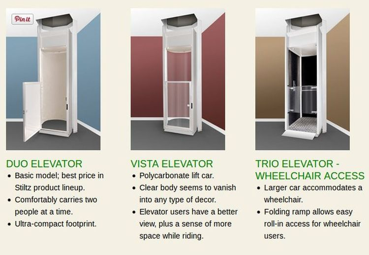 To best meet the needs of each individual, Stiltz offers three different home elevator models with graduated sizes and feature sets. http://bit.ly/1RJiXEL Stiltz Home Elevator Models Stiltz Residential Elevators Vista Elevator