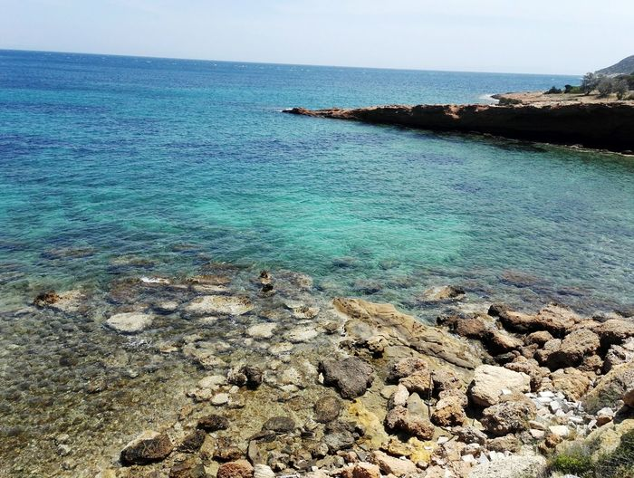 Summer colour of life Blue Water Taking Photos Sea And Sky Greece Athens Athens, Greece Turquoise Rocky Coastline Seascape Sandy Beach Turquoise Colored Calm Ocean Surf Coastline