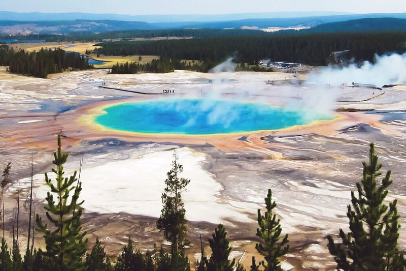Grand Prismatic Thermal Spring in Yellowstone National Park in Wyoming. Travel Photography Outdoors Landscape Adventure Travel Carol Bock Yeellowstone National Park Hiking