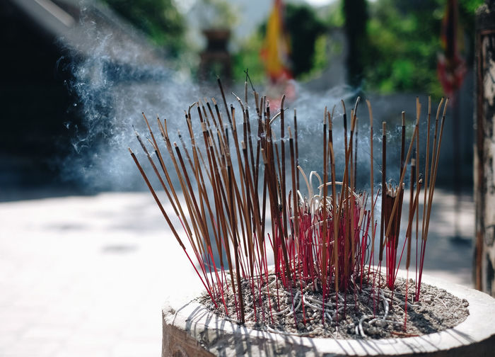 Close-Up Of Incenses By Temple