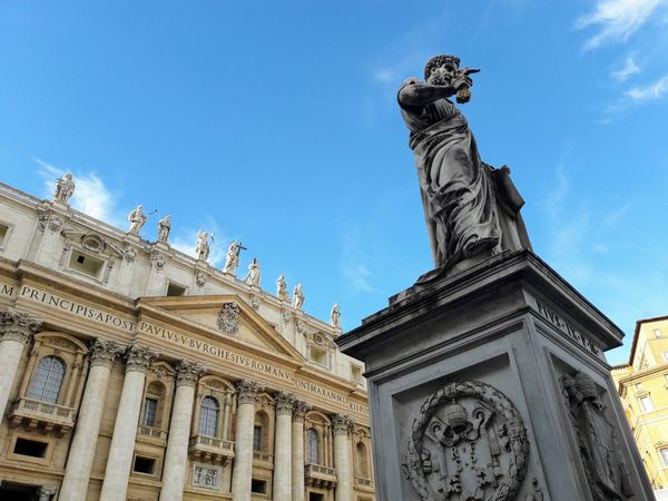 St. Peter's Basilica and statue of Pope Pius IX in St. Peter's Square; Vatican City, Italy Statue Travel Destinations Architecture Sculpture Clear Sky City Architectural Column European Travels Culture Heritage Roman Rome, Italy Capital Of Italy Saint Holy Vatican City Basilica Di San Pietro In Vaticano Church Cathedral Catholicism Low Angle View Majestic Pius Pope St Peters Square