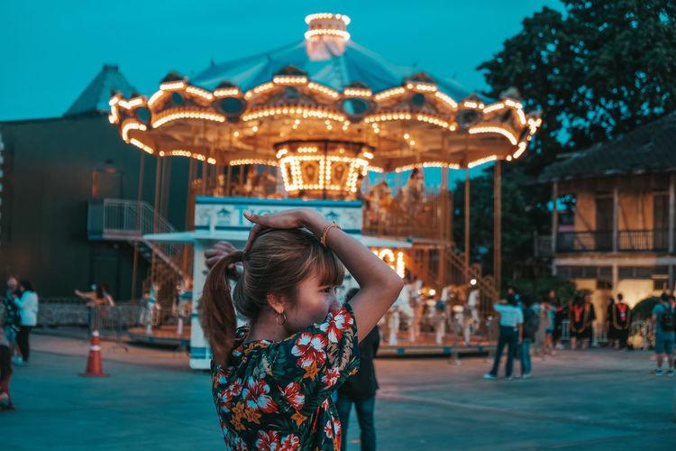 Full length of girl in amusement park