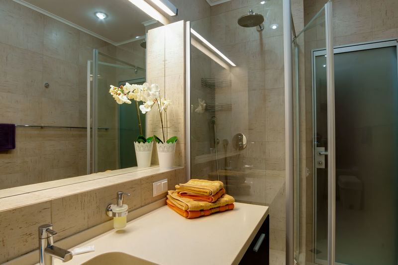 Indoors  Sink Domestic Room Domestic Bathroom Household Equipment Bathroom Mirror No People Illuminated Plant Home Hygiene Reflection Flower Faucet Glass - Material Nature Luxury Architecture Furniture Modern