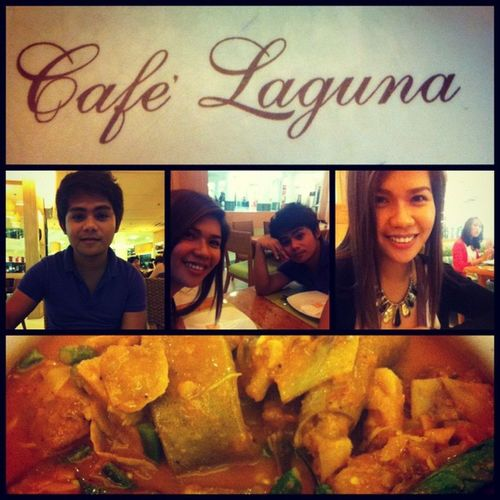 """Tammy satisfaction with my all-time favorite dish """"kare-kare?"""" only at Cafaguna ?????????? miss you mom dad :'("""