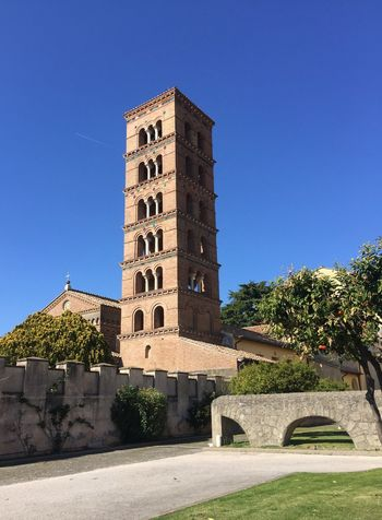 Campanile, Tower Worship Place Architecture Built Structure Building Exterior Blue Clear Sky Sunlight Day