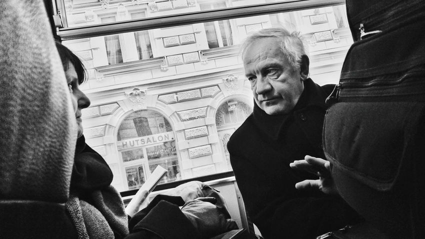 Adult History Two People Togetherness People City Travel Destinations Indoors  Women Men Day Adults Only Close-up Only Men Transportation Streetphoto_bw Passenger Blackandwhite Public Transportation Vienna Black And White Streetphotography Crowded Train Candid Portraits Hidden Portrait Candid Photography