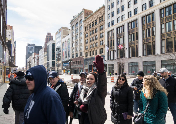 Architecture Building Exterior City Day Detroit Large Group Of People Men Michigan Outdoors People Real People Walking Warm Clothing Women