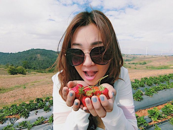 Strawberry One Person Food And Drink Sky Food Fruit Healthy Eating Nature Portrait