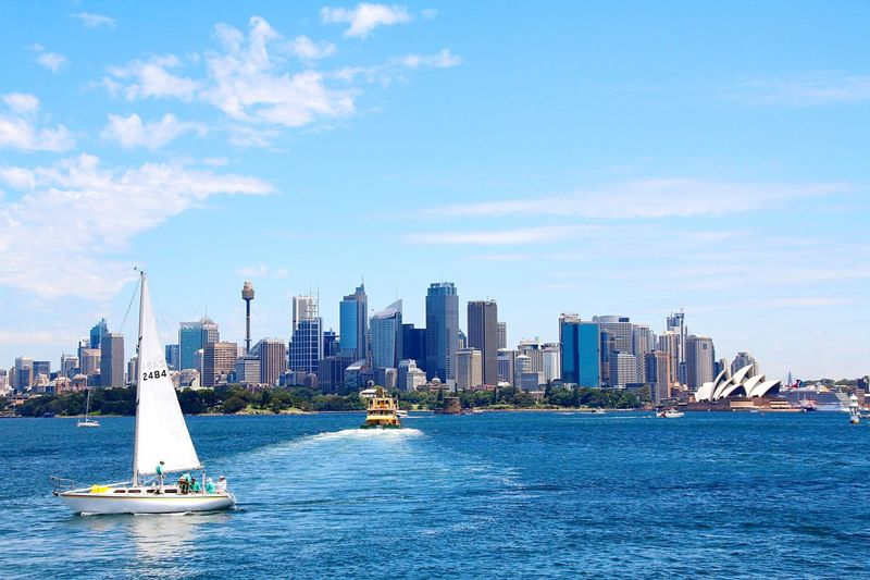 Sydney Photography Sydney Travel Photography Australia Outdoors Photograpghy  Exploring Sydney Outdoorphotography Skyline Skycrapers Travelphotography Boat Trip Sailboat Sky And City Sky And Sea Boat Harbour Cruise Sydney Opera House Sydney, Australia Sydney Skyline Sydney Panorama Beautiful View Outdoor Photography