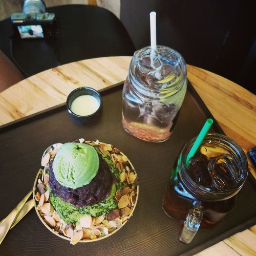 Foodie Food And Drink Refreshment Korean Food Bingsu Dessert Korean Dessert Cafe Freshness Green Tea And Almond Bingsu Singapore Green Plum Soda Pomegranate Soda