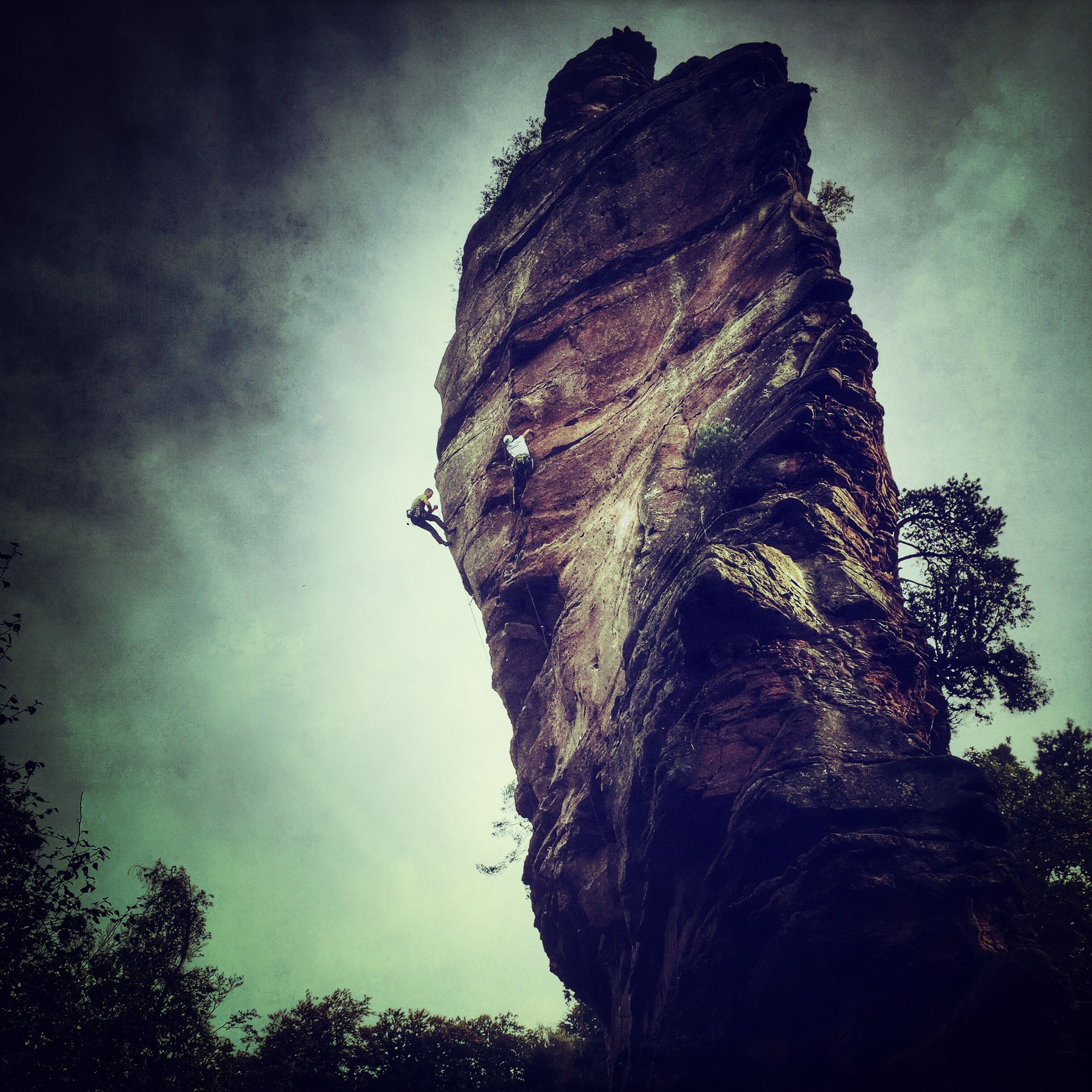 low angle view, sky, tree, rock formation, cloud - sky, silhouette, nature, rock - object, cloud, tranquility, outdoors, no people, day, dusk, sunlight, rocky mountains, cliff, beauty in nature, sculpture, textured