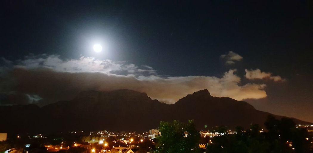 Table Mountain - lights and Full moon Nightphotography Moon Mountain Illuminated Sky Full Moon Moonlight