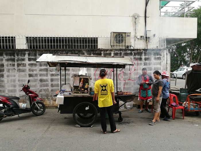 street food Streetphotography Street Food People Building Lifestyles Built Structure Outdoors Men Motorcycle Full Length Land Vehicle