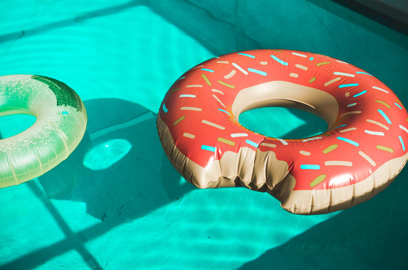 Close-Up Of Inflatable Ring Floating In Swimming Pool