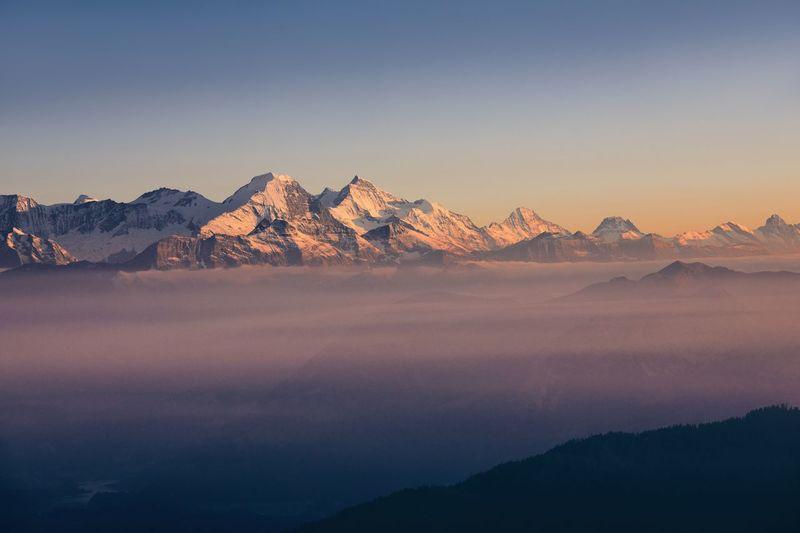 Panorama of snowcapped mountain range. view from pilatus mountain, luzern, switzerland