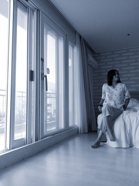 Young Women Beauty City Full Length Women Sitting Window Bedroom Females
