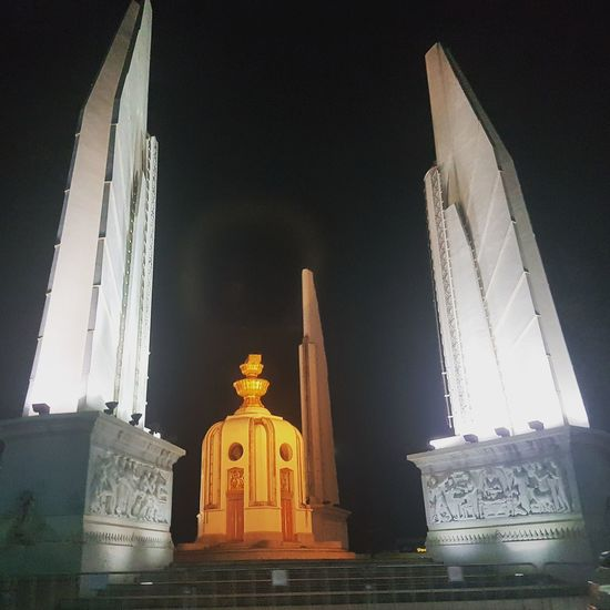 Bangkok night City Statue Politics And Government Spirituality Religion Business Finance And Industry Architecture Sky Built Structure