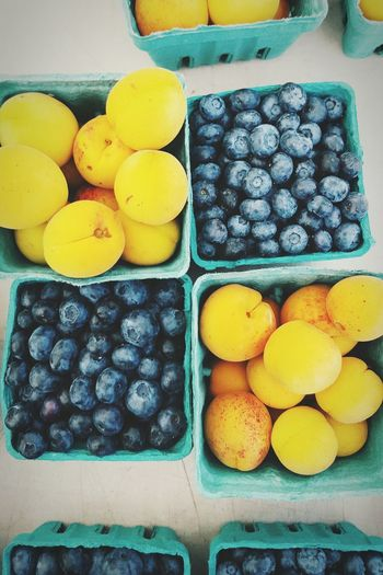 Blueberries and apricots at the Catonsville farmer's market. Summer Foodphotography Farmers Market First Eyeem Photo