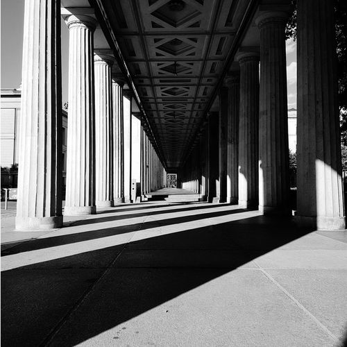 Architecture Architectural Column Built Structure Sunlight Shadow History EyeEmPremiumShot Indoors  No People Symmetry Outdoors Low Angle View Ancient Discover Berlin The Week On EyeEm Berlin Blackandwhite Architecture Museumsinsel Berlin Tourism Travel Destinations Travel Sunlight Old Ruin City Black And White Friday Black And White Friday
