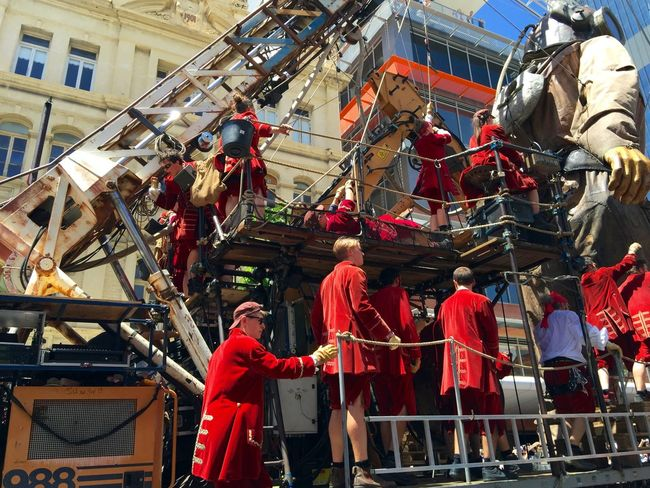 PERTH, AUSTRALIA-FEBRUARY 14, 2015: Journey of the Giants, Marionette Diver and Puppeteers, public International Arts Festival Art Art Event Australia Australianshepherd Belts And Pulleys City Cityscape Crane Crowds Culture Diver Festival Giant Human International Journey Marionette People Puppeteers Walking Winchester Wooden