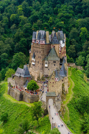 High angle view of tourists in eltz castle