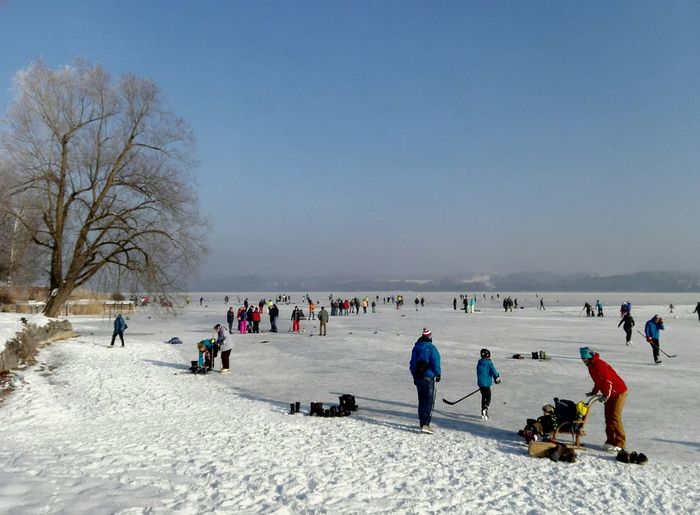 People on frozen lake