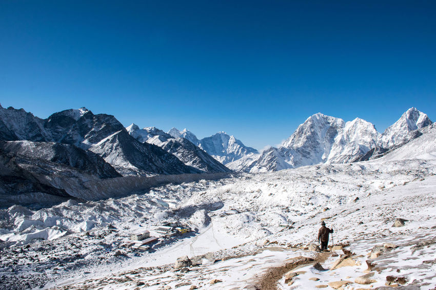 Trekking Nepal Lost In The Landscape Adventure Beauty In Nature Cold Temperature Mountain Mountain Range Outdoors Snow Snowcapped Mountain Tranquil Scene