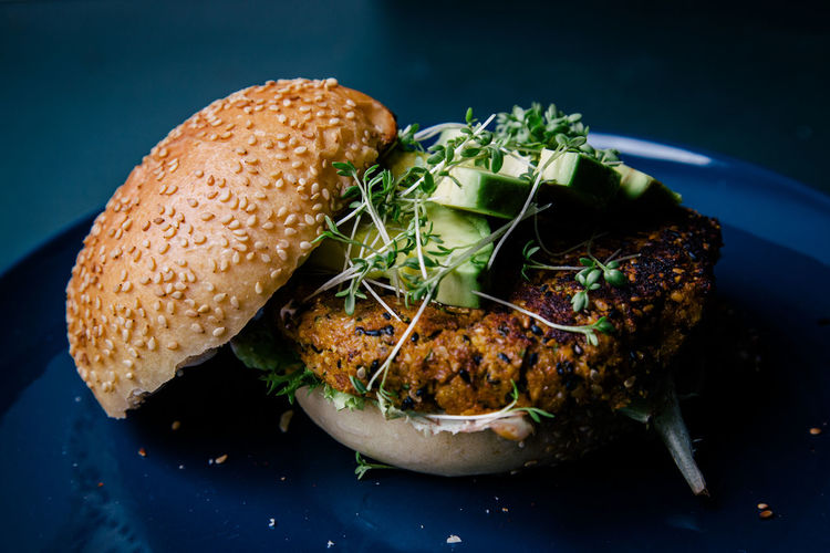 Close-up of fresh burger in plate