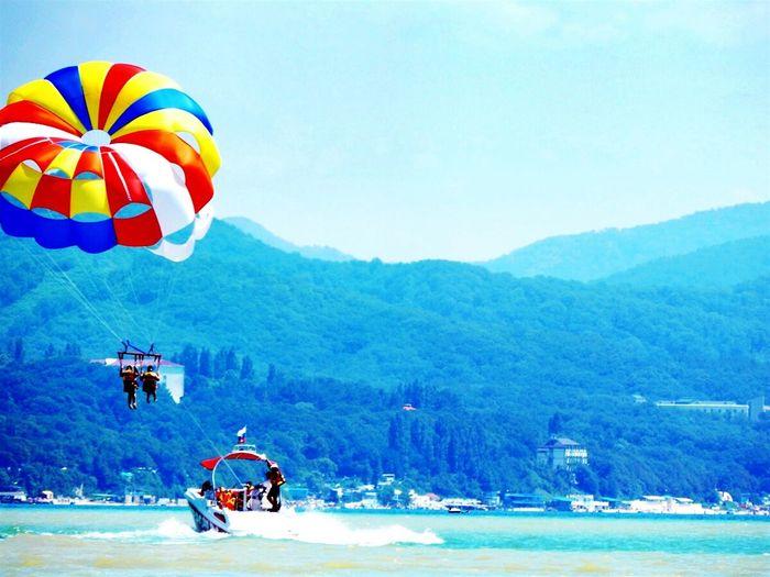 Море отдых пейзаж синий голубой парашют пляж море солнце пляж волны солнце лето