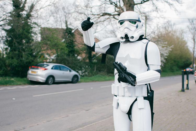Dark Side Geek Gun Helmet Nerd One Person Outdoors People Point Road Star Wars The Force